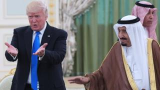 US President Donald Trump and Saudi Arabia's King Salman bin Abdulaziz al-Saud pictured in Riyadh in May 2017