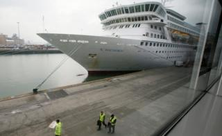 The cruise ship Balmoral is prepared prior to boarding of passengers going on the Titanic Memorial Cruise in Southampton, England April 8, 2012