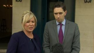 Michelle O'Neill with Simon Harris