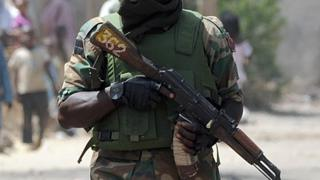 A Nigerian soldier on patrol in Borno State - 2013 picture