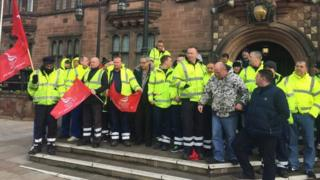 Coventry refuse collectors on strike outside the Council House