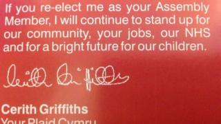 Cerith Griffiths' leaflet