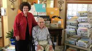 Joe and his daughter Beverly Cuba surrounded by his birthday cards