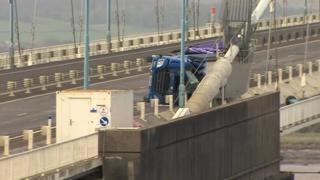 Lorry on side on Severn Bridge