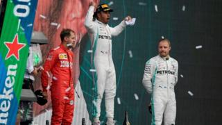 Hamilton celebrates winning his sixth World Title in Mexico, 2019