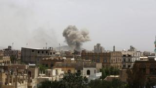 Smoke rises after an airstrike by the Saudi-led coalition in Sanaa, Yemen, on 14 July, 2015