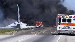 A handout photo made available by the Savannah Professional Firefighters Association on 2 May 2018 shows an apparent military aircraft crash outside of Savannah, in Port Wentworth, Georgia, USA