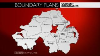 BBC graphic showing Northern Ireland's current Westminster boundaries