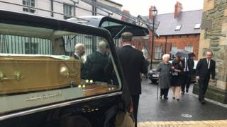 Northern Ireland Hearse arrives at funeral of Bishop Dr James Mehaffey