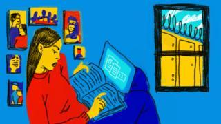 Ilustración de una joven en su casa.