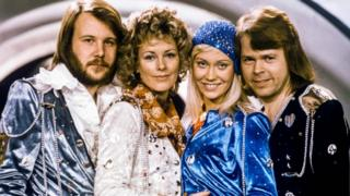 "Picture taken in 1974 in Stockholm shows the Swedish pop group Abba with its members (L-R) Benny Andersson, Anni-Frid Frida Lyngstad, Agnetha Faltskog and Bjorn Ulvaeus posing after winning the Swedish branch of the Eurovision Song Contest with their song ""Waterloo""."