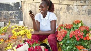 Woman selling flowers in Nairobi