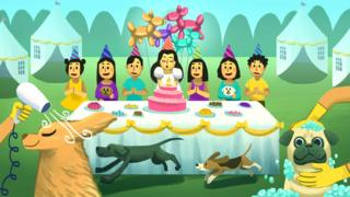 Illustration of birthday party