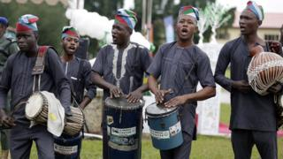 Musicians entertain guests at independence day celebrations in Lagos, Nigeria - Saturday 1 October 2016