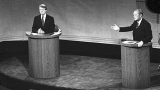 Jimmy Carter and Gerald Ford at a 1976 debate