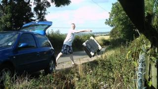 Richard Weston dumping dishwasher parts