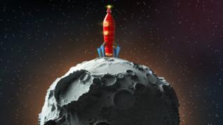 Cohete en una luna