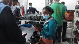 Shoe factory worker