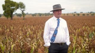 Former Australian deputy minister Barnaby Joyce stands in a field