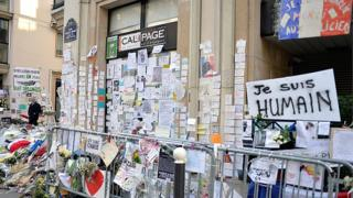 Tributes near the Charlie Hebdo offices more than a month after the terrorist attacks in February 2015 in Paris, France.