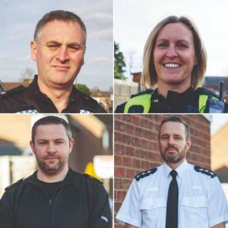 PCs Matthew Huard and Victoria Justice, Sgt Andy Fiddler, and Ch Insp Henry Parsons