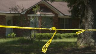 Police tape outside the Smith household