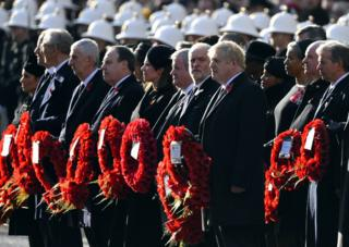 in_pictures Prime Minister Boris Johnson and Labour Party leader Jeremy Corbyn prepare to lay wreaths in the annual Remembrance Sunday memorial service at The Cenotaph