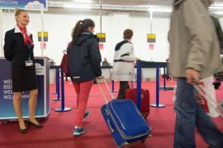 Brussels airport check-in, 3 Apr 16