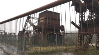 Cefn Coed colliery museum - dismantled winding gear