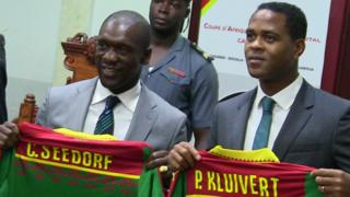 New coach of Indomitable Lions of Cameroon Clarence Seedorf and e assistant Patrick Kluivert