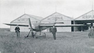 Bristol monoplane at Larkhill, Wiltshire