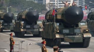 उत्तर कोरिया की सैन्य परेड.