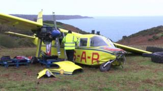 Channel Islands Air Search plane Lion's Pride after crash landing on Jersey's north coast