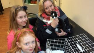 Dolly the cat with with Debs, Natasha and Annabelle