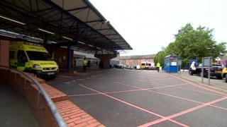 Ambulance bay at Leicester Royal Infirmary
