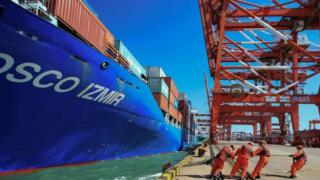 Ship docks in Qingdao