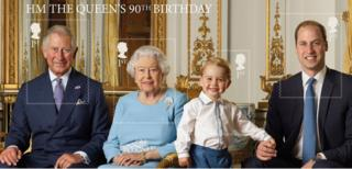 The stamp sheet featuring Prince Charles, the Queen, Prince George and Prince William