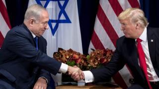 رئيس الوزراء الإسرائيلي بنيامين نتنياهو والرئيس الأمريكي دونالد ترامب