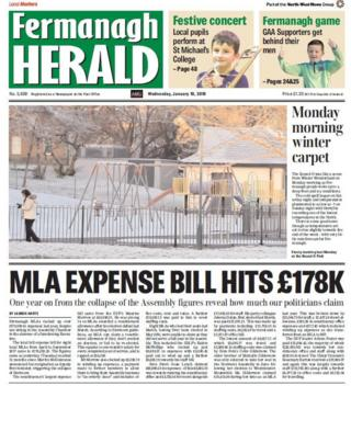 front page of the Fermanagh Herald Wednesday 10 January 2018