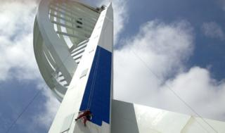 Spinnaker Tower being painted