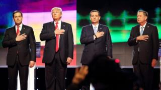 Marco Rubio, Donald Trump, Ted Cruz and John Kasich at the Republican debate in Miami