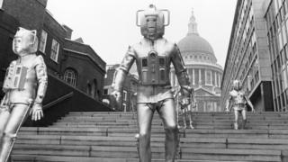 Cybermen next to St Paul's Cathedral in The Invasion, 1968