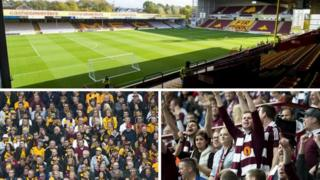 Firpark, Motherwell fans and Hearts fans