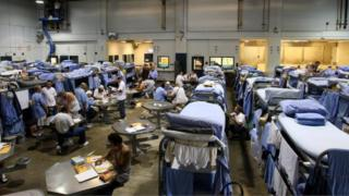 Prisoners in an overcrowded California correctional facility