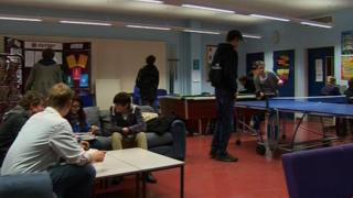 Young people at a youth club
