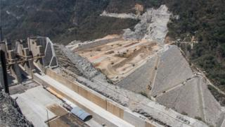 A view of construction under way at the Hidroituango dam