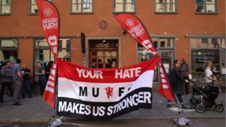 A Manchester United banner in the Rorstrandsgatan fan zone prior the Europa League Final