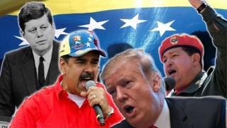 Montaje con Kennedy, Maduro, Chávez y Trump