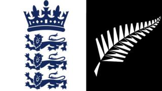 England and New Zealand cricket logos.
