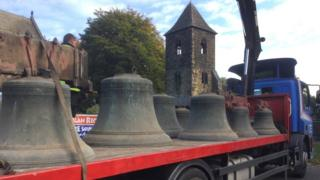 Bells being transported on a lorry from St Mary's Mirfield